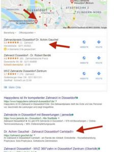 Content Marketing Google Suche Zahnarzt Düsseldorf