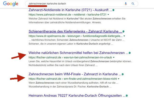 Content Marketing Google Suche Zahnschmerzen Karlsruhe Durlach
